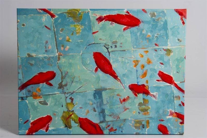 Cuadro peces colores de 90x120 for Cuadros de peces