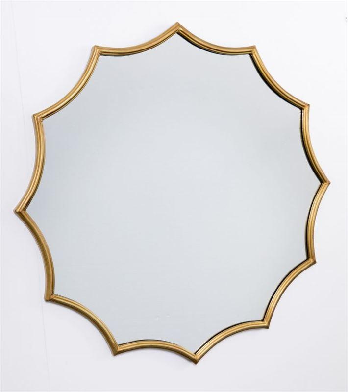 Espejo pared con marco de hierro acabado dorado en forma for Espejos decorativos con forma de sol