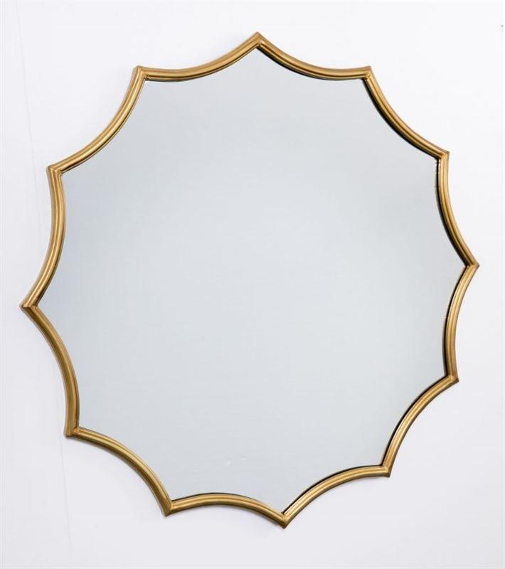 Espejo pared con marco de hierro acabado dorado en forma de sol y ...