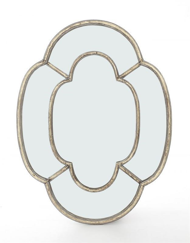 Espejo pared con marco de metal con forma geométrica y cristal espejo